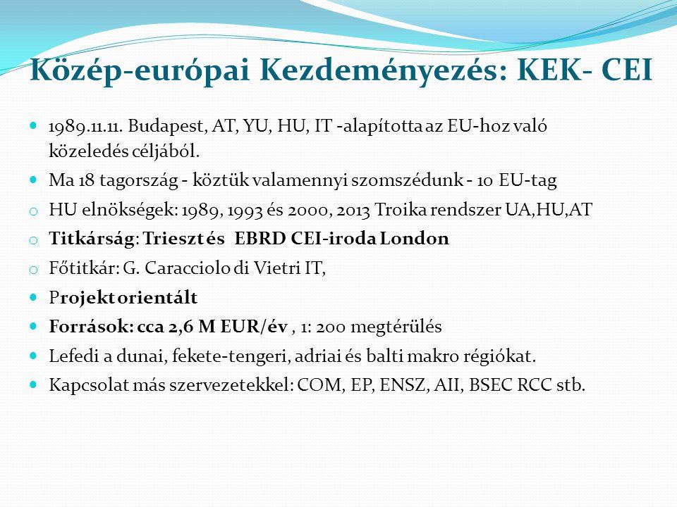 Közép-európai Kezdeményezés: KEK- CEI  1989.11.11. Budapest, AT, YU, HU, IT -alapította az EU-hoz való közeledés céljából.  Ma 18 tagország - köztük