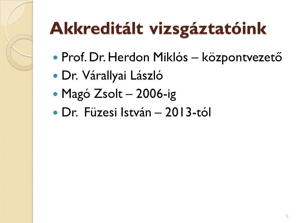 Akkreditált vizsgáztatóink  Prof. Dr. Herdon Miklós – központvezető  Dr. Várallyai László  Magó Zsolt – 2006-ig  Dr. Füzesi István – 2013-tól 5
