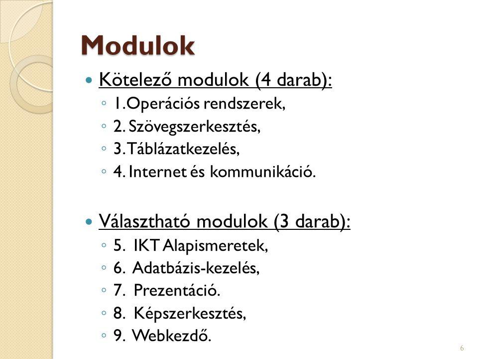Modulok  Kötelező modulok (4 darab): ◦ 1.Operációs rendszerek, ◦ 2. Szövegszerkesztés, ◦ 3. Táblázatkezelés, ◦ 4. Internet és kommunikáció.  Választ