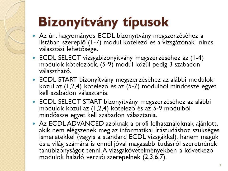 Bizonyítvány típusok  Az ún. hagyományos ECDL bizonyítvány megszerzéséhez a listában szereplő (1-7) modul kötelező és a vizsgázónak nincs választási