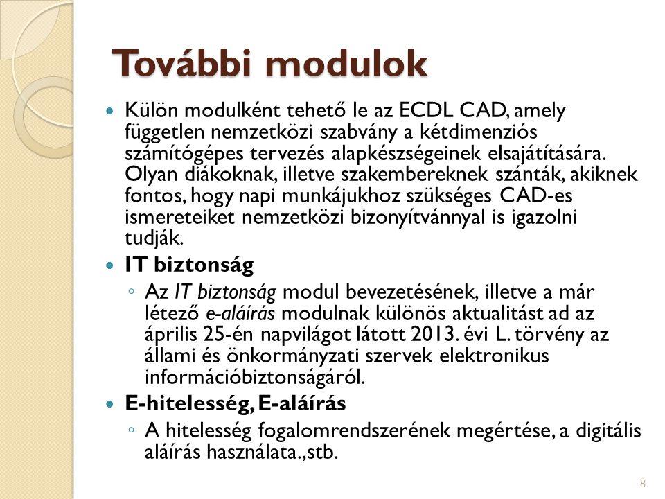 További modulok  Külön modulként tehető le az ECDL CAD, amely független nemzetközi szabvány a kétdimenziós számítógépes tervezés alapkészségeinek els