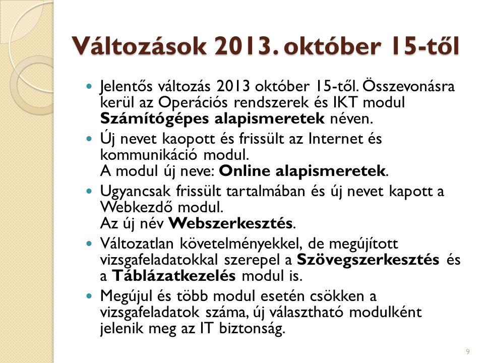 Változások 2013. október 15-től  Jelentős változás 2013 október 15-től. Összevonásra kerül az Operációs rendszerek és IKT modul Számítógépes alapisme