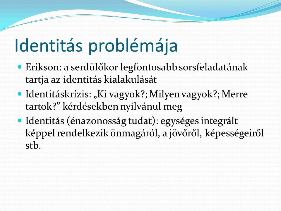 """Identitás problémája  Erikson: a serdülőkor legfontosabb sorsfeladatának tartja az identitás kialakulását  Identitáskrízis: """"Ki vagyok?; Milyen vagy"""