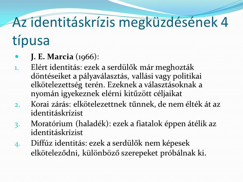 Az identitáskrízis megküzdésének 4 típusa  J. E. Marcia (1966): 1. Elért identitás: ezek a serdülők már meghozták döntéseiket a pályaválasztás, vallá