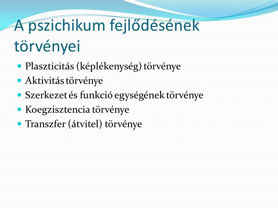A pszichikum fejlődésének törvényei  Plaszticitás (képlékenység) törvénye  Aktivitás törvénye  Szerkezet és funkció egységének törvénye  Koegziszt
