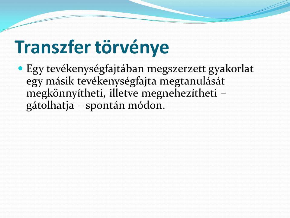 Transzfer törvénye  Egy tevékenységfajtában megszerzett gyakorlat egy másik tevékenységfajta megtanulását megkönnyítheti, illetve megnehezítheti – gá