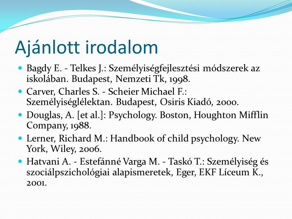 Ajánlott irodalom  Bagdy E. - Telkes J.: Személyiségfejlesztési módszerek az iskolában. Budapest, Nemzeti Tk, 1998.  Carver, Charles S. - Scheier Mi