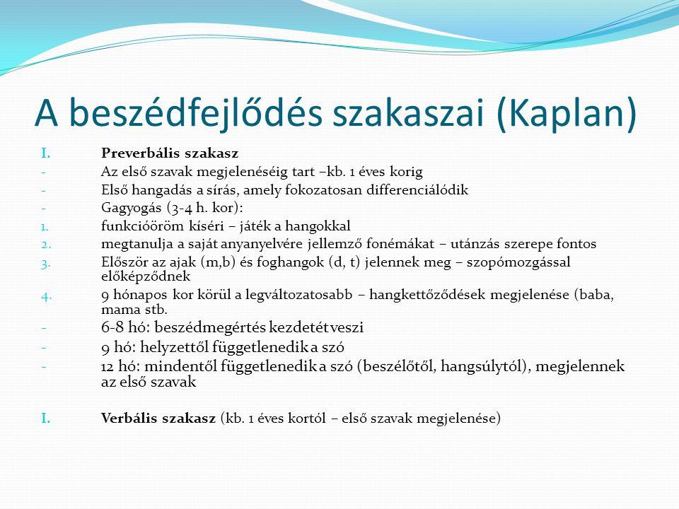 A beszédfejlődés szakaszai (Kaplan) I. Preverbális szakasz - Az első szavak megjelenéséig tart –kb. 1 éves korig - Első hangadás a sírás, amely fokoza