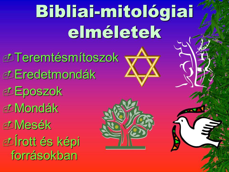 Bibliai-mitológiai elméletek  Teremtésmítoszok  Eredetmondák  Eposzok  Mondák  Mesék  Írott és képi forrásokban