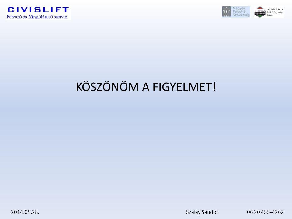 2014.05.28. Szalay Sándor 06 20 455-4262 KÖSZÖNÖM A FIGYELMET!