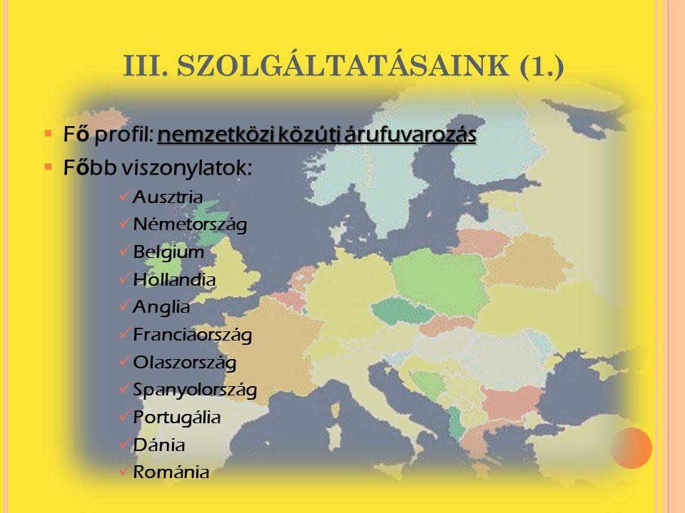 III. SZOLGÁLTATÁSAINK (1.) nemzetközi közúti árufuvarozás  F ő profil: nemzetközi közúti árufuvarozás  F ő bb viszonylatok:  Ausztria  Németország