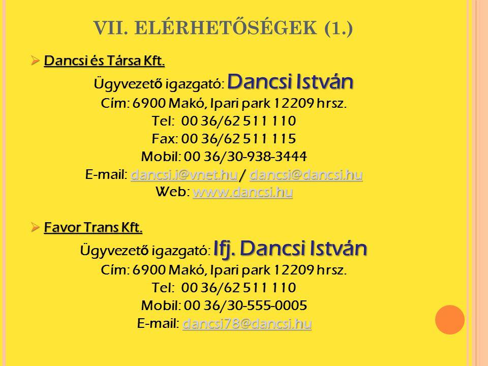 VII.ELÉRHETŐSÉGEK (1.)  Dancsi és Társa Kft.