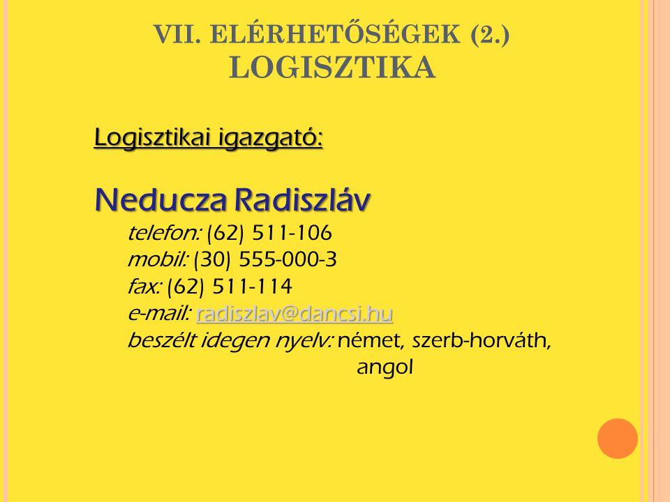 VII. ELÉRHETŐSÉGEK (2.) LOGISZTIKA Logisztikai igazgató: Neducza Radiszláv telefon: (62) 511-106 mobil: (30) 555-000-3 fax: (62) 511-114 radiszlav@dan