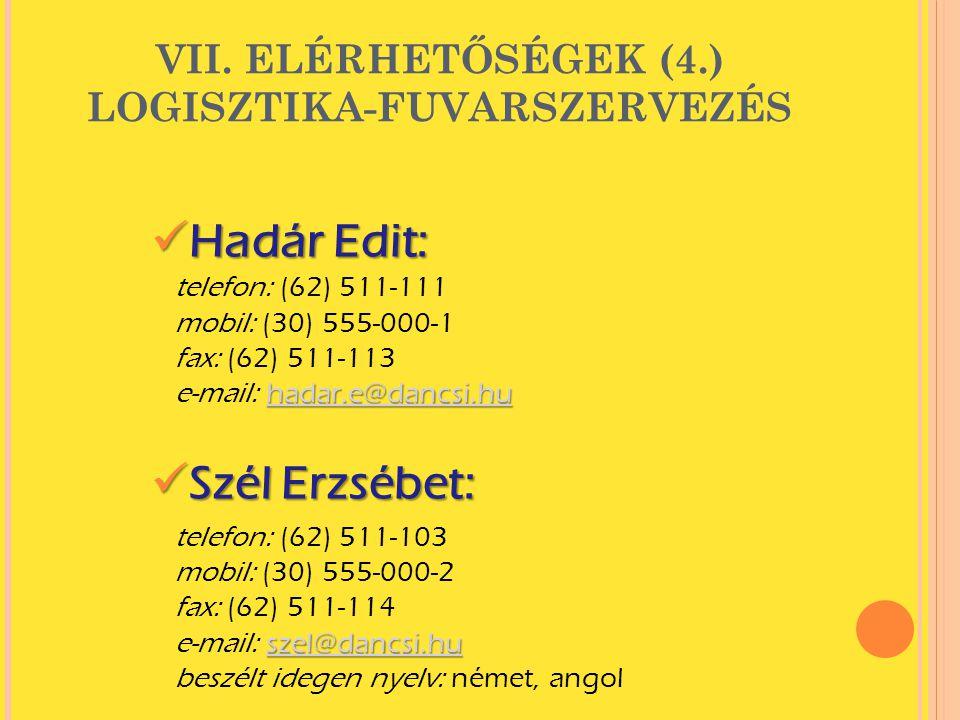 VII. ELÉRHETŐSÉGEK (4.) LOGISZTIKA-FUVARSZERVEZÉS  Hadár Edit: hadar.e@dancsi.hu hadar.e@dancsi.hu telefon: (62) 511-111 mobil: (30) 555-000-1 fax: (