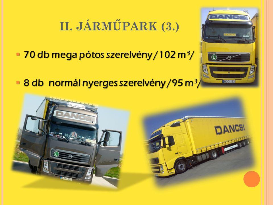 II. JÁRMŰPARK (3.)  70 db mega pótos szerelvény /102 m 3 /  8 db normál nyerges szerelvény /95 m 3 /