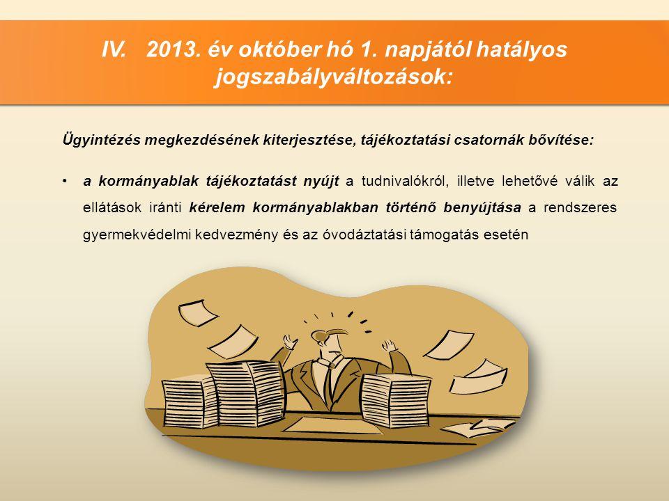 IV. 2013. év október hó 1. napjától hatályos jogszabályváltozások: Ügyintézés megkezdésének kiterjesztése, tájékoztatási csatornák bővítése: •a kormán