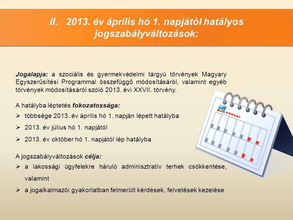 II. 2013. év április hó 1. napjától hatályos jogszabályváltozások: Jogalapja: a szociális és gyermekvédelmi tárgyú törvények Magyary Egyszerűsítési Pr