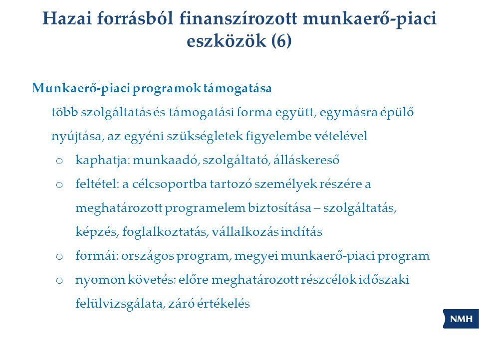 Hazai forrásból finanszírozott munkaerő-piaci eszközök (6) Munkaerő-piaci programok támogatása több szolgáltatás és támogatási forma együtt, egymásra épülő nyújtása, az egyéni szükségletek figyelembe vételével o kaphatja: munkaadó, szolgáltató, álláskereső o feltétel: a célcsoportba tartozó személyek részére a meghatározott programelem biztosítása – szolgáltatás, képzés, foglalkoztatás, vállalkozás indítás o formái: országos program, megyei munkaerő-piaci program o nyomon követés: előre meghatározott részcélok időszaki felülvizsgálata, záró értékelés