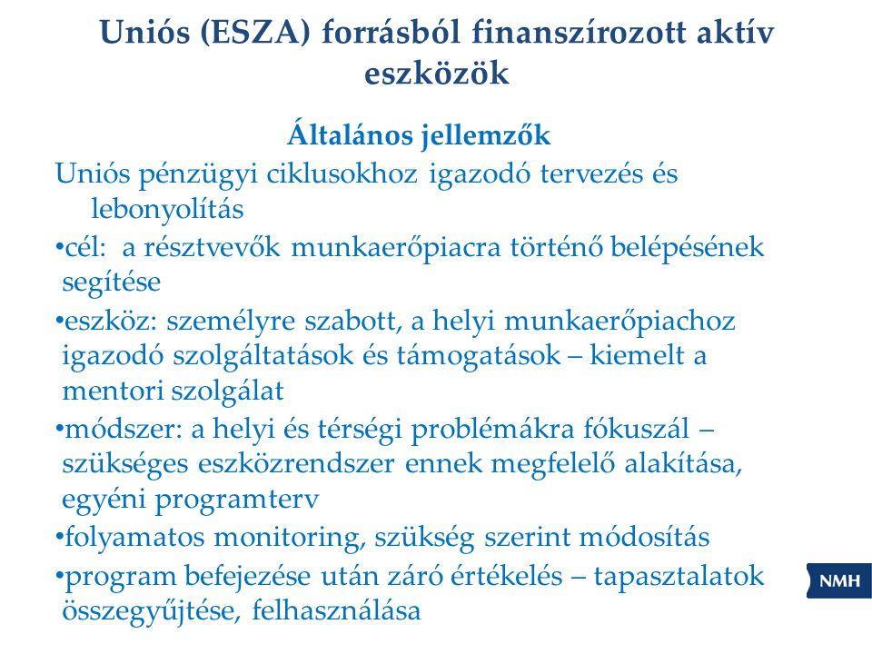 Uniós (ESZA) forrásból finanszírozott aktív eszközök Általános jellemzők Uniós pénzügyi ciklusokhoz igazodó tervezés és lebonyolítás • cél: a résztvevők munkaerőpiacra történő belépésének segítése • eszköz: személyre szabott, a helyi munkaerőpiachoz igazodó szolgáltatások és támogatások – kiemelt a mentori szolgálat • módszer: a helyi és térségi problémákra fókuszál – szükséges eszközrendszer ennek megfelelő alakítása, egyéni programterv • folyamatos monitoring, szükség szerint módosítás • program befejezése után záró értékelés – tapasztalatok összegyűjtése, felhasználása