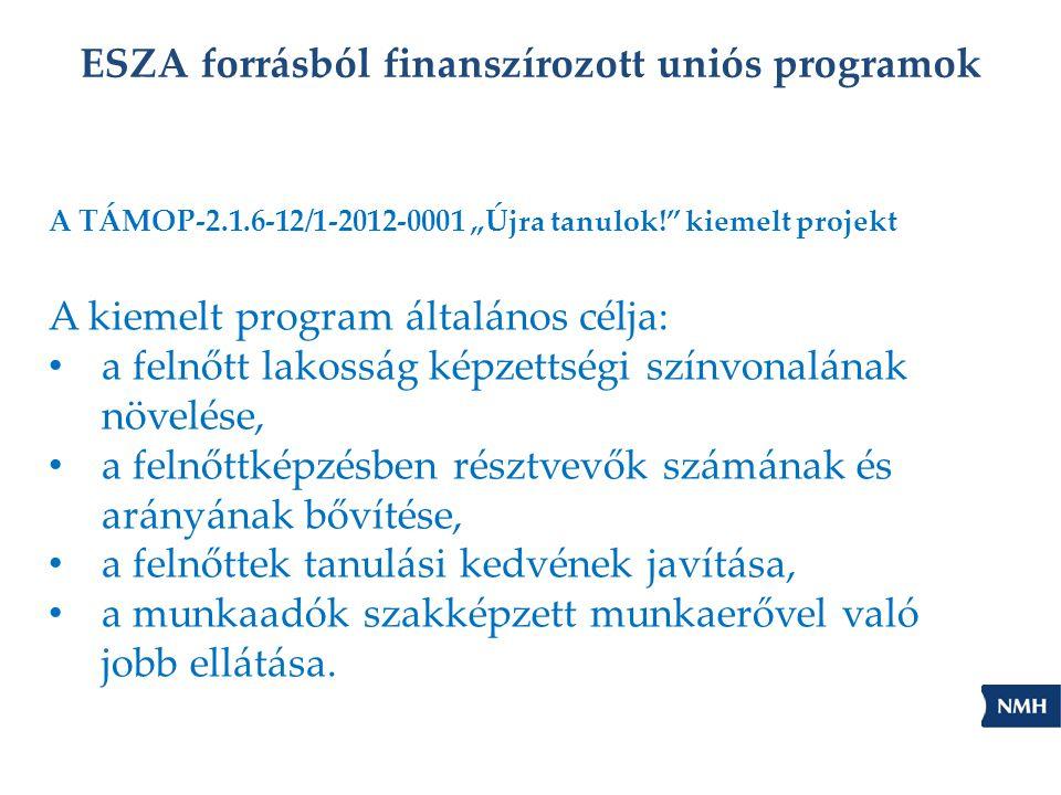 """ESZA forrásból finanszírozott uniós programok A TÁMOP-2.1.6-12/1-2012-0001 """"Újra tanulok! kiemelt projekt A kiemelt program általános célja: • a felnőtt lakosság képzettségi színvonalának növelése, • a felnőttképzésben résztvevők számának és arányának bővítése, • a felnőttek tanulási kedvének javítása, • a munkaadók szakképzett munkaerővel való jobb ellátása."""