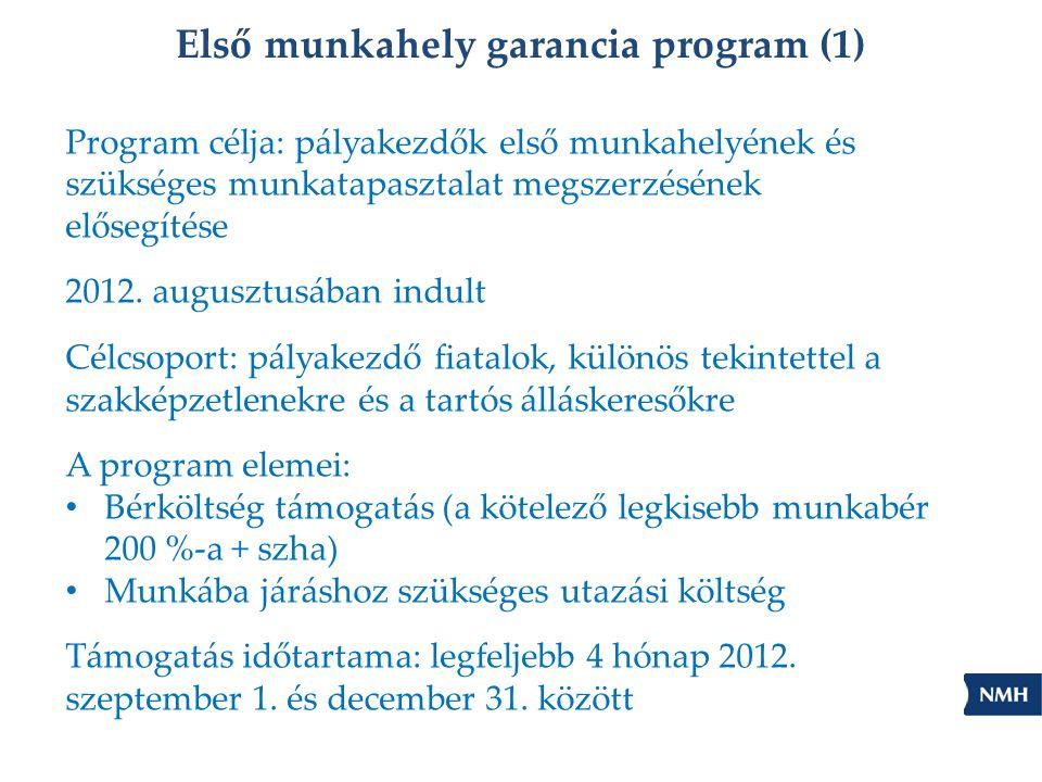 Első munkahely garancia program (1) Program célja: pályakezdők első munkahelyének és szükséges munkatapasztalat megszerzésének elősegítése 2012.