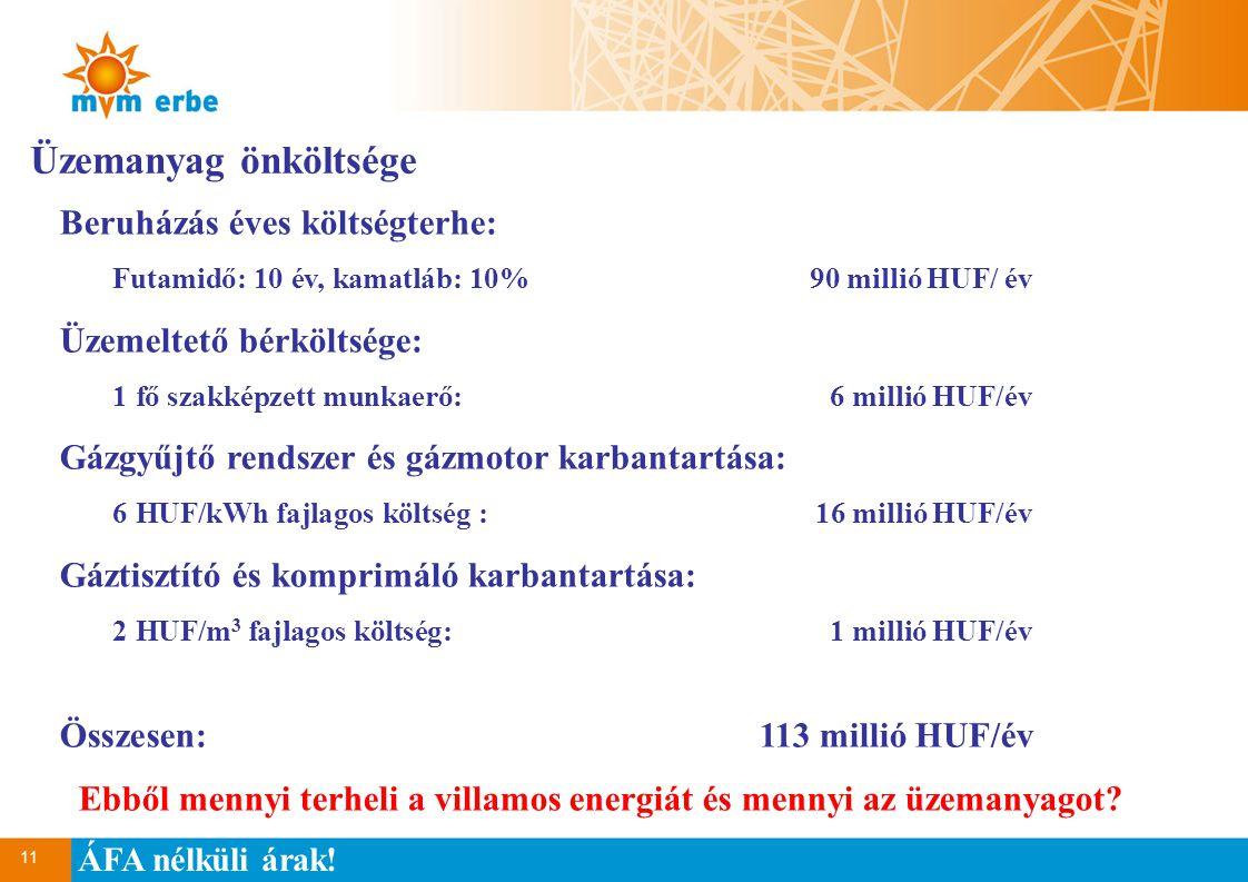 11 Üzemanyag önköltsége Beruházás éves költségterhe: Futamidő: 10 év, kamatláb: 10%90 millió HUF/ év Üzemeltető bérköltsége: 1 fő szakképzett munkaerő:6 millió HUF/év Gázgyűjtő rendszer és gázmotor karbantartása: 6 HUF/kWh fajlagos költség :16 millió HUF/év Gáztisztító és komprimáló karbantartása: 2 HUF/m 3 fajlagos költség:1 millió HUF/év Összesen:113 millió HUF/év Ebből mennyi terheli a villamos energiát és mennyi az üzemanyagot.