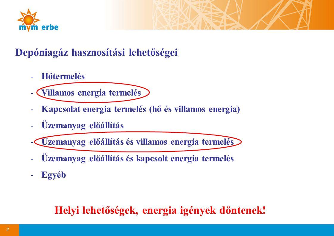 2 Depóniagáz hasznosítási lehetőségei -Hőtermelés -Villamos energia termelés -Kapcsolat energia termelés (hő és villamos energia) -Üzemanyag előállítás -Üzemanyag előállítás és villamos energia termelés -Üzemanyag előállítás és kapcsolt energia termelés -Egyéb Helyi lehetőségek, energia igények döntenek!