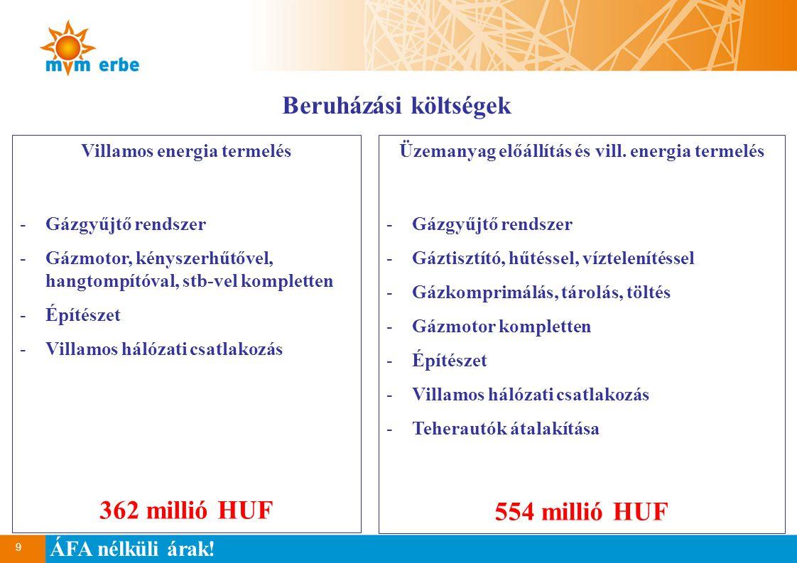 9 Beruházási költségek Villamos energia termelés -Gázgyűjtő rendszer -Gázmotor, kényszerhűtővel, hangtompítóval, stb-vel kompletten -Építészet -Villamos hálózati csatlakozás 362 millió HUF Üzemanyag előállítás és vill.