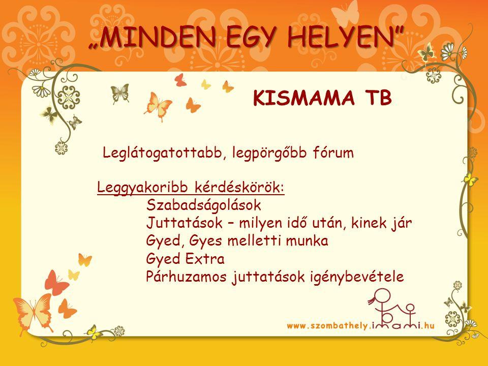 """Leggyakoribb kérdéskörök: Szabadságolások Juttatások – milyen idő után, kinek jár Gyed, Gyes melletti munka Gyed Extra Párhuzamos juttatások igénybevétele Leglátogatottabb, legpörgőbb fórum KISMAMA TB """"MINDEN EGY HELYEN"""