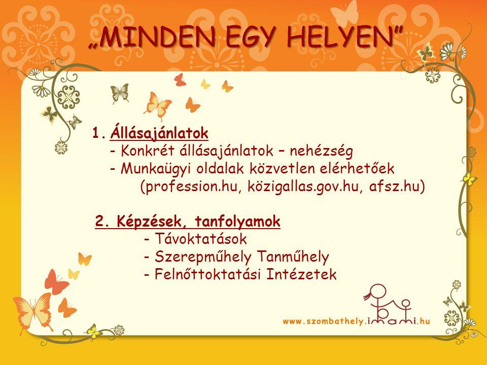1.Állásajánlatok - Konkrét állásajánlatok – nehézség - Munkaügyi oldalak közvetlen elérhetőek (profession.hu, közigallas.gov.hu, afsz.hu) 2.
