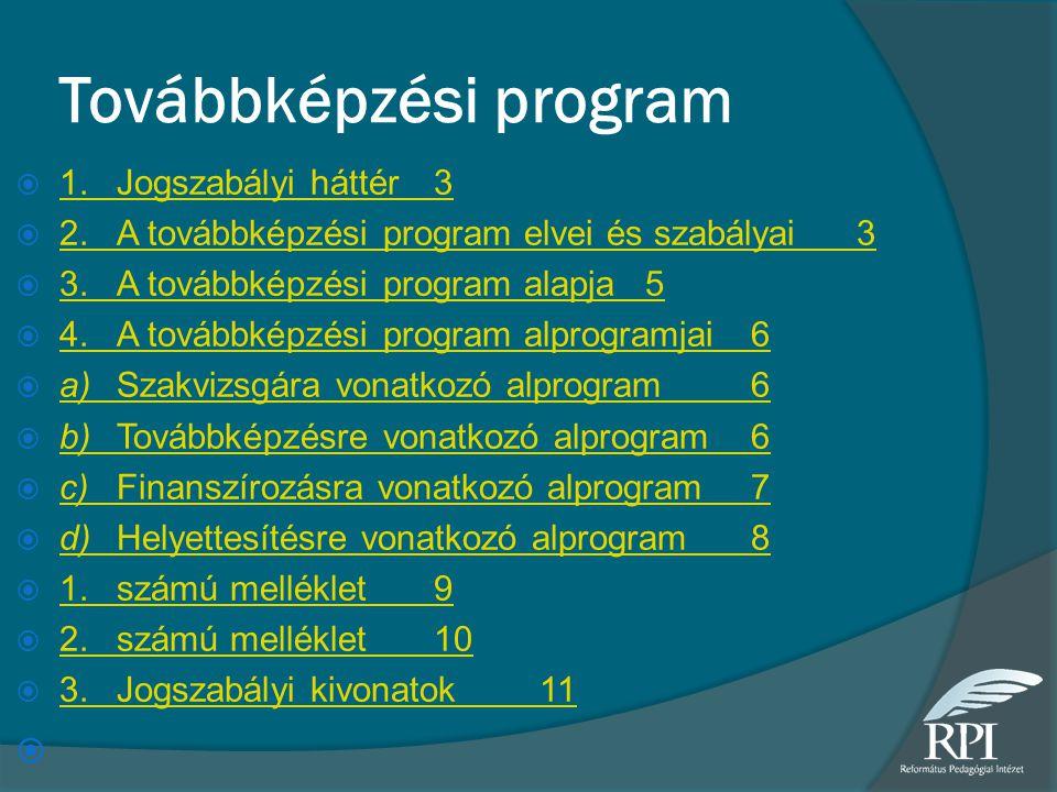 Továbbképzési program  1.Jogszabályi háttér3 1.Jogszabályi háttér3  2.A továbbképzési program elvei és szabályai3 2.A továbbképzési program elvei és szabályai3  3.A továbbképzési program alapja5 3.A továbbképzési program alapja5  4.A továbbképzési program alprogramjai6 4.A továbbképzési program alprogramjai6  a)Szakvizsgára vonatkozó alprogram6 a)Szakvizsgára vonatkozó alprogram6  b)Továbbképzésre vonatkozó alprogram6 b)Továbbképzésre vonatkozó alprogram6  c)Finanszírozásra vonatkozó alprogram7 c)Finanszírozásra vonatkozó alprogram7  d)Helyettesítésre vonatkozó alprogram8 d)Helyettesítésre vonatkozó alprogram8  1.számú melléklet9 1.számú melléklet9  2.számú melléklet10 2.számú melléklet10  3.Jogszabályi kivonatok11 3.Jogszabályi kivonatok11 