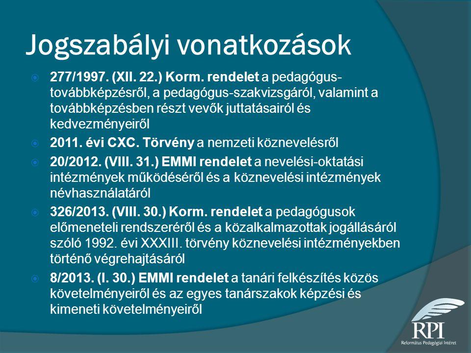 Jogszabályi vonatkozások  277/1997.(XII. 22.) Korm.