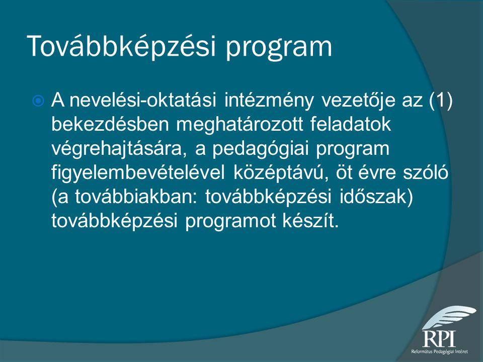 Továbbképzési program  A nevelési-oktatási intézmény vezetője az (1) bekezdésben meghatározott feladatok végrehajtására, a pedagógiai program figyelembevételével középtávú, öt évre szóló (a továbbiakban: továbbképzési időszak) továbbképzési programot készít.