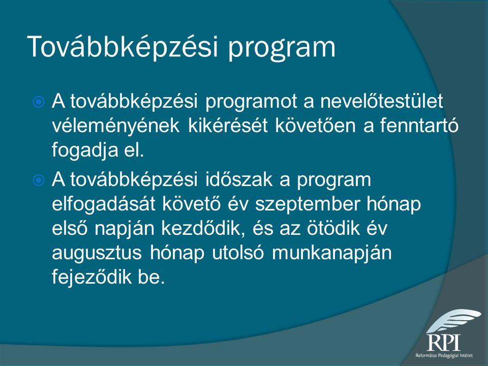 Továbbképzési program  A továbbképzési programot a nevelőtestület véleményének kikérését követően a fenntartó fogadja el.  A továbbképzési időszak a