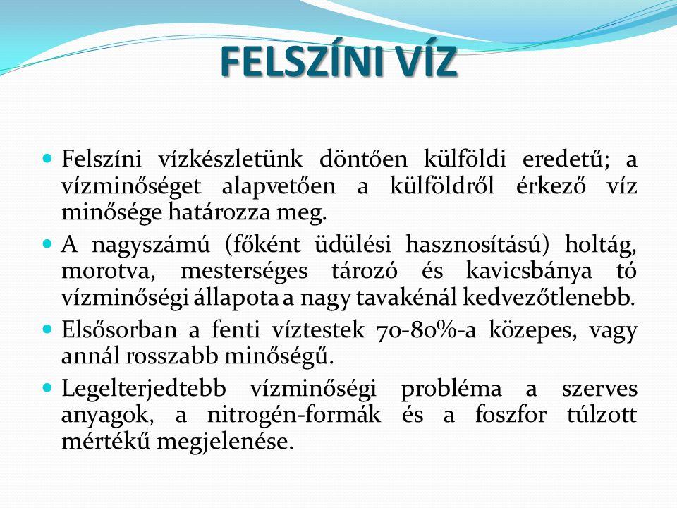 FELSZÍNI VÍZ  Felszíni vízkészletünk döntően külföldi eredetű; a vízminőséget alapvetően a külföldről érkező víz minősége határozza meg.  A nagyszám