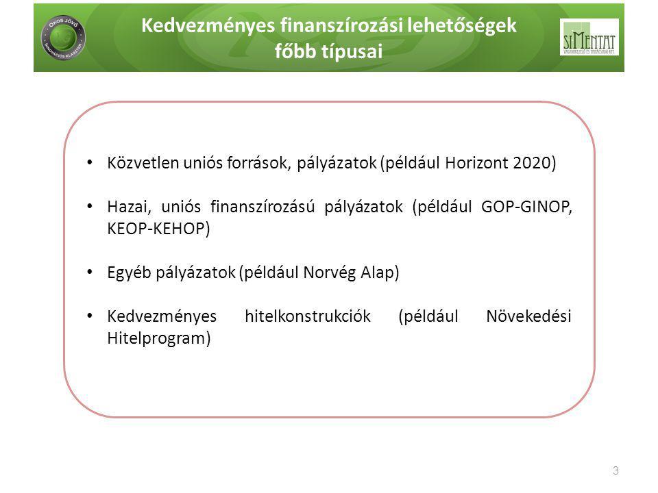 Kedvezményes finanszírozási lehetőségek főbb típusai 3 • Közvetlen uniós források, pályázatok (például Horizont 2020) • Hazai, uniós finanszírozású pá