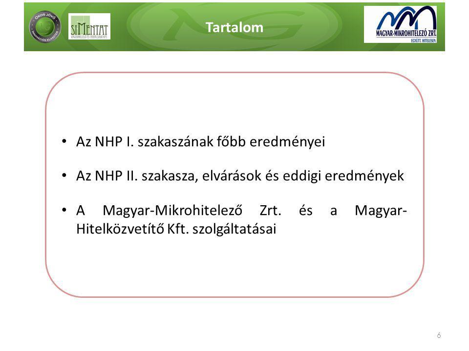Tartalom 6 • Az NHP I. szakaszának főbb eredményei • Az NHP II. szakasza, elvárások és eddigi eredmények • A Magyar-Mikrohitelező Zrt. és a Magyar- Hi
