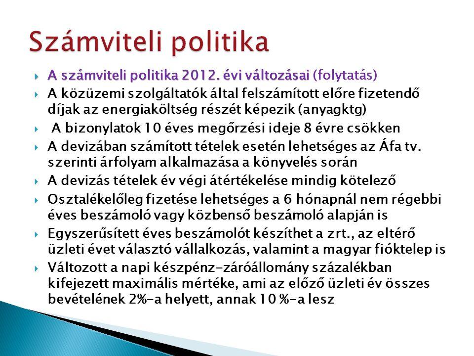  A számviteli politika 2012. évi változásai  A számviteli politika 2012. évi változásai (folytatás)  A közüzemi szolgáltatók által felszámított elő