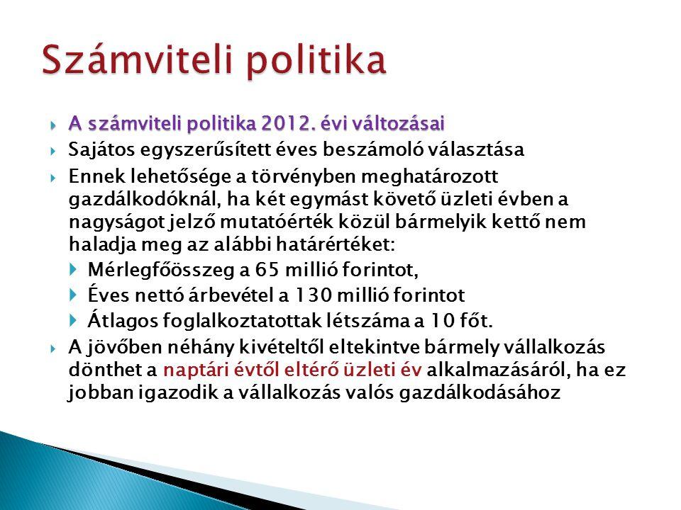  A számviteli politika 2012. évi változásai  Sajátos egyszerűsített éves beszámoló választása  Ennek lehetősége a törvényben meghatározott gazdálko