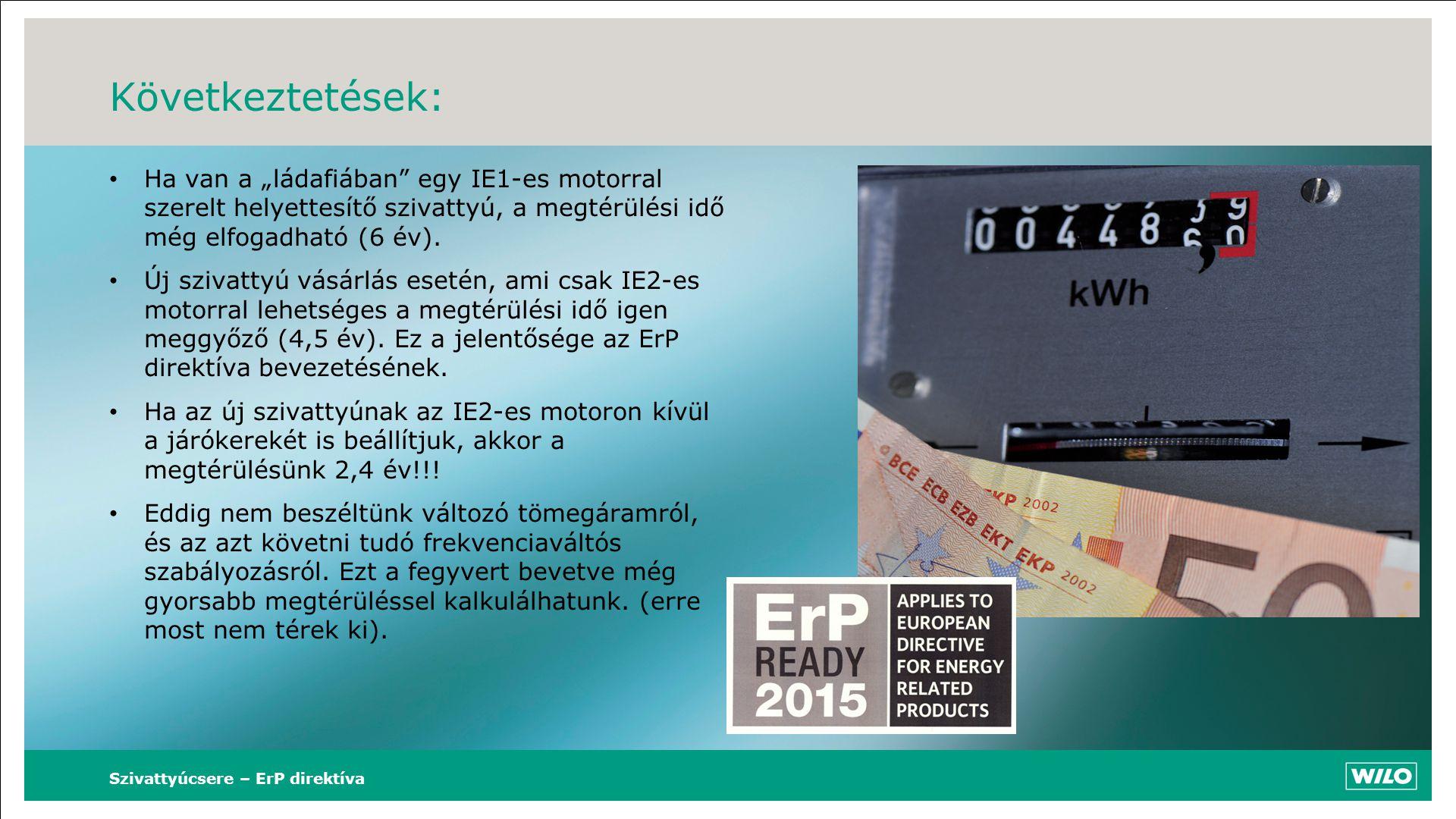 """Következtetések: • Ha van a """"ládafiában"""" egy IE1-es motorral szerelt helyettesítő szivattyú, a megtérülési idő még elfogadható (6 év). • Új szivattyú"""