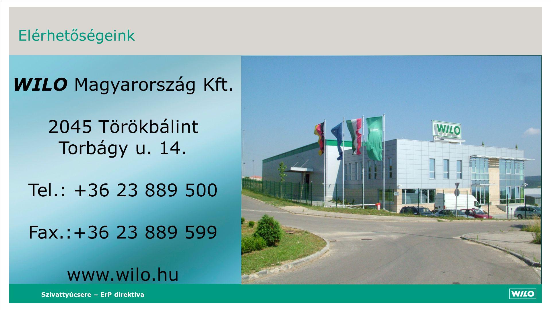 Szivattyúcsere – ErP direktíva Elérhetőségeink WILO Magyarország Kft. 2045 Törökbálint Torbágy u. 14. Tel.: +36 23 889 500 Fax.:+36 23 889 599 www.wil