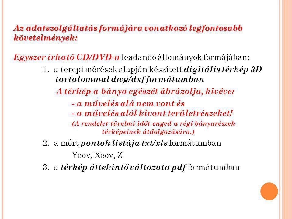 Az adatszolgáltatás formájára vonatkozó legfontosabb követelmények: Egyszer írható CD/DVD-n leadandó állományok formájában: 1.