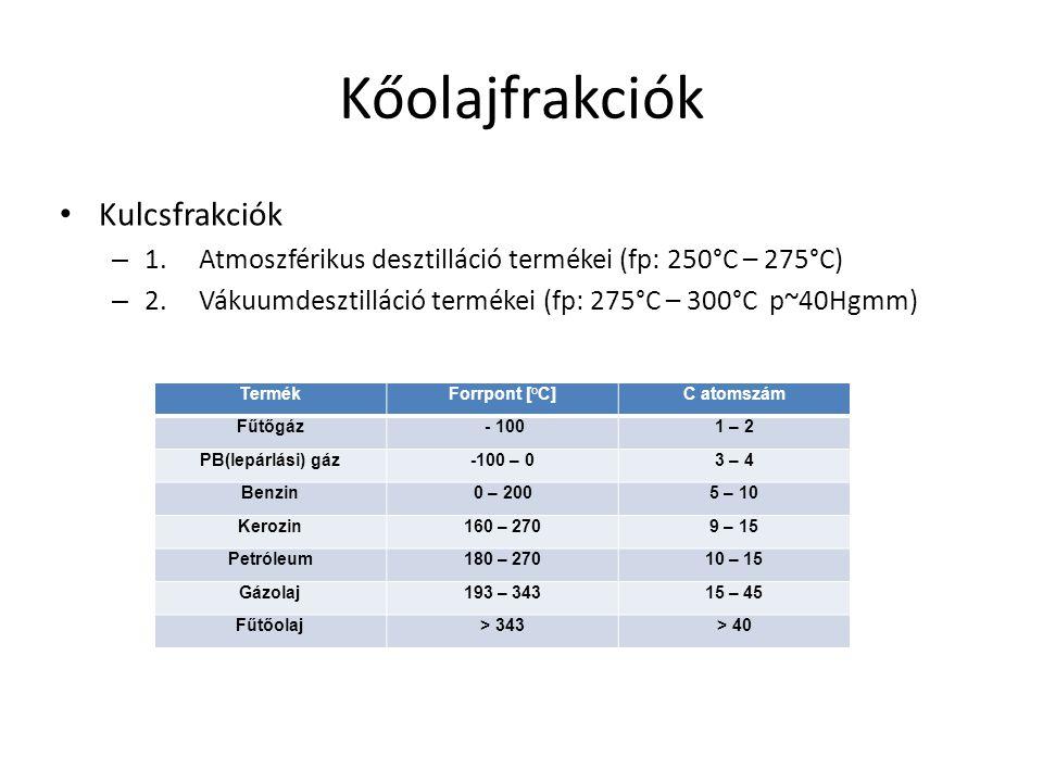 Kőolajfrakciók • Kulcsfrakciók – 1.Atmoszférikus desztilláció termékei (fp: 250°C – 275°C) – 2.