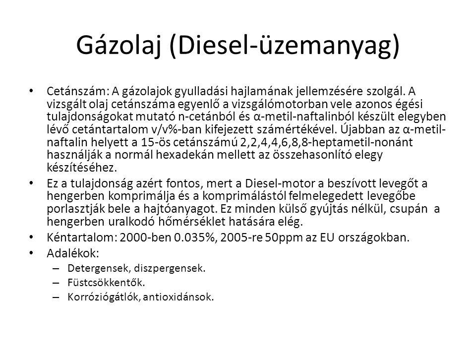 Gázolaj (Diesel-üzemanyag) • Cetánszám: A gázolajok gyulladási hajlamának jellemzésére szolgál.