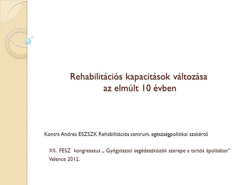 """Rehabilitációs kapacitások változása az elmúlt 10 évben XII. FESZ kongresszus """" Gyógyászati segédeszközök szerepe a tartós ápolásban"""" Velence 2012. Ko"""