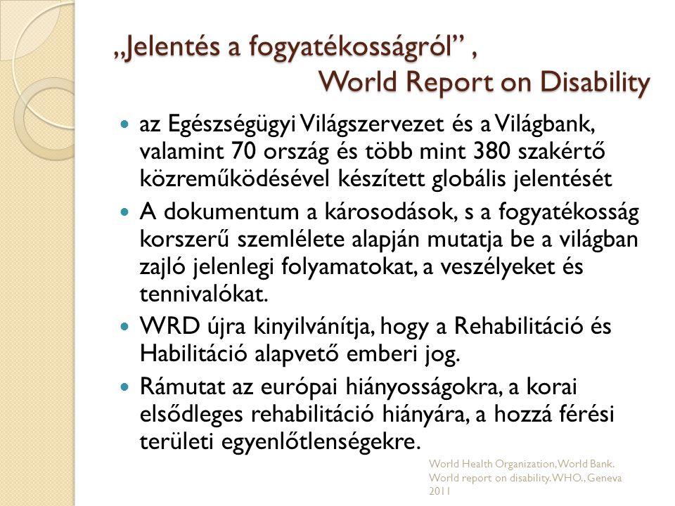 """""""Jelentés a fogyatékosságról , World Report on Disability  Felszólít a nemzeti rehabilitációs tervek felülvizsgálatára  A fogyatékosság prevenciójával kapcsolatos tennivalókat harmonizálják a népegészségügyi program célkitűzéseivel."""