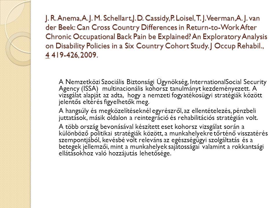 J. R. Anema,A. J. M. Schellart,J. D. Cassidy,P. Loisel, T. J. Veerman, A. J. van der Beek: Can Cross Country Differences in Return-to-Work After Chron