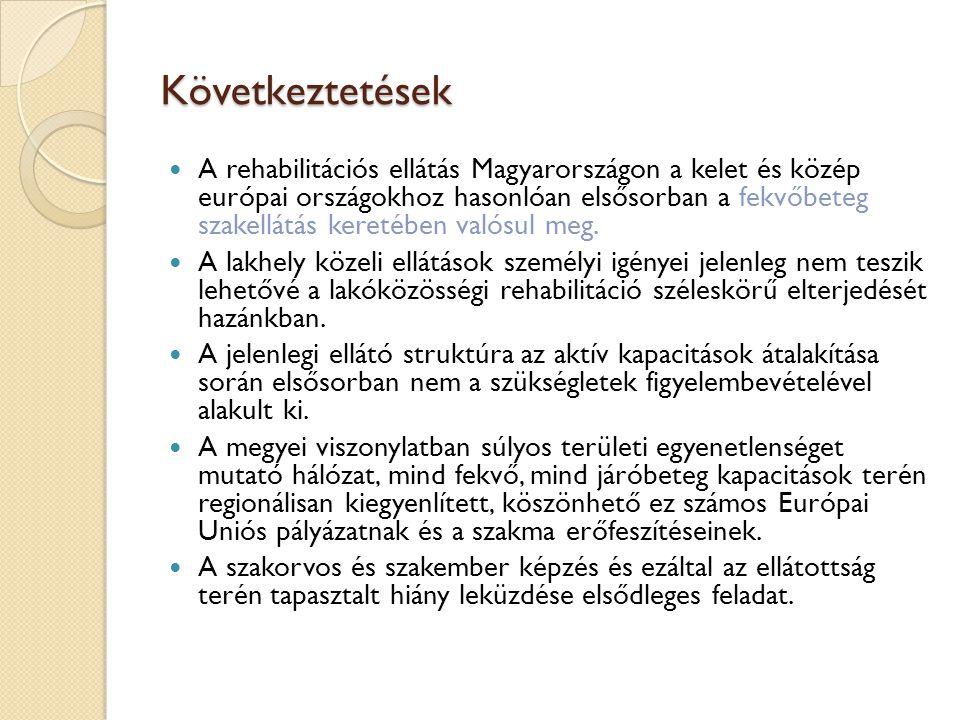 Következtetések  A rehabilitációs ellátás Magyarországon a kelet és közép európai országokhoz hasonlóan elsősorban a fekvőbeteg szakellátás keretében valósul meg.