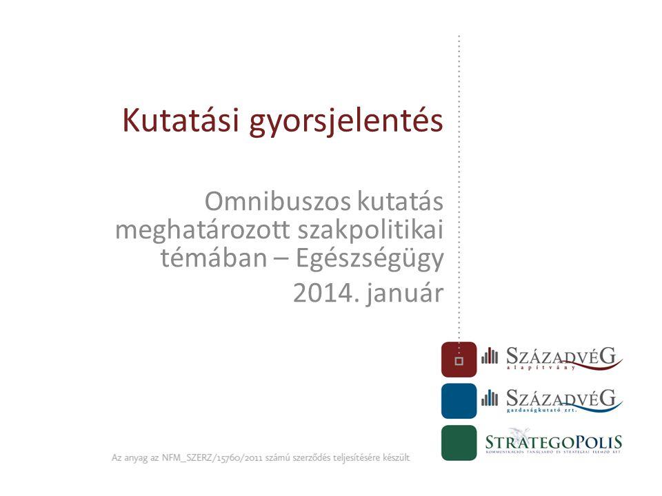 Kutatási gyorsjelentés Omnibuszos kutatás meghatározott szakpolitikai témában – Egészségügy 2014. január