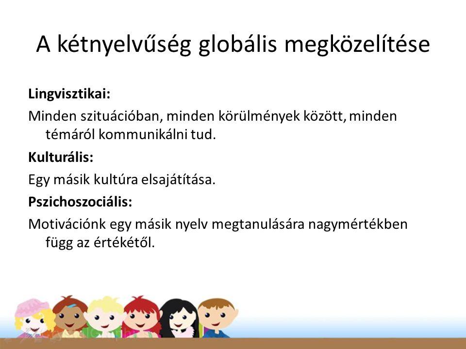 A kétnyelvűség globális megközelítése Lingvisztikai: Minden szituációban, minden körülmények között, minden témáról kommunikálni tud. Kulturális: Egy